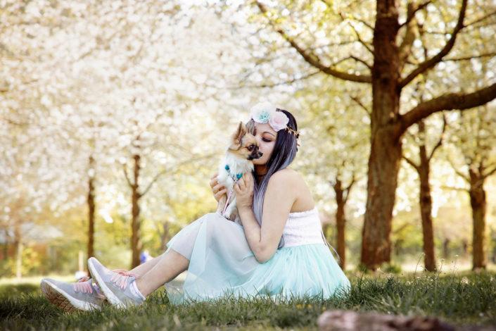 Hundefotografie Hund und Mensch unter Kirschblüten, Hannover 2020